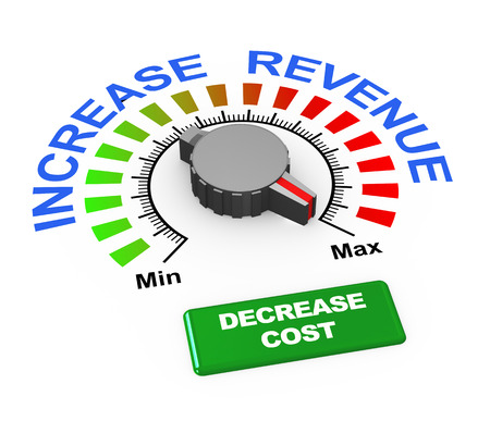 cost reduction: 3d illustration of knob of increase revenue set at max with button to decrease cost