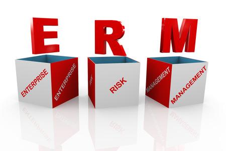 erm: 3d illustration of acronym erm - enterprise risk management box