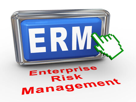 3d render of hand cursor pointer click on button with phrase erm - enterprise risk management box  Stock Photo