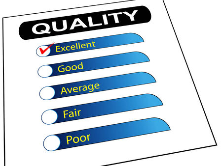 3d illustration of quality survey form check list with tick mark on excellent  illustration