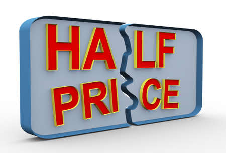 3d render special offer of half price sale discount concept photo