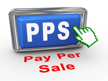 advertiser: 3d render of hand cursor pointer click on button pps - pay per sale