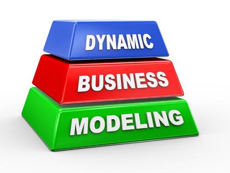 modeling: 3d illustration of concept of dynamic business modeling