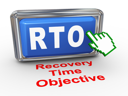 contingency: 3d render of hand cursor pointer click on rto recovery time objective button