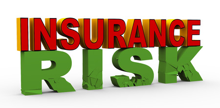 3d render of word insurance over cracked risk  Concept of insurance  photo