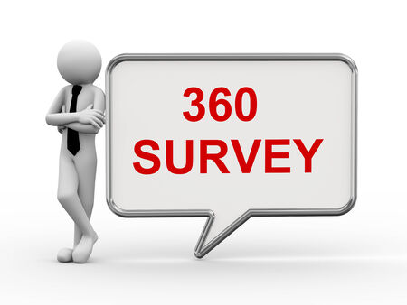 3d rendering of business person standing with 360 survey bubble speech. 3d white people man character photo