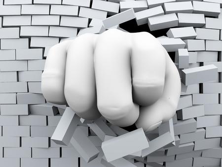 bursting: 3d rendering of human hand fist bursting and breaking wall of bricks