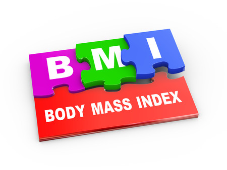 bmi: 3d rendering of puzzle pieces presentation of bmi - body mass index