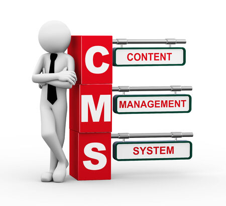 cms: 3d rendering of business person standing with cms - content management system. 3d white people man character