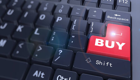 3d rendering of word buy written with red key on computer keyboard photo