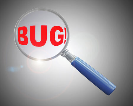 intruder: 3d rendering of a magnifying glass hovering and focus over word bug