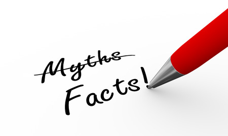 dishonest: 3d rendering of pen writing myths and facts on paper Stock Photo