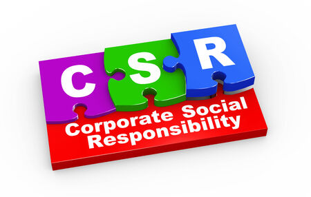 corporate responsibility: 3d rendering of puzzle pieces presentation of csr - corporate social responsibility Stock Photo
