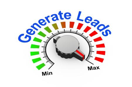 lead: 3d illustrazione di manopola impostato al massimo per generare lead