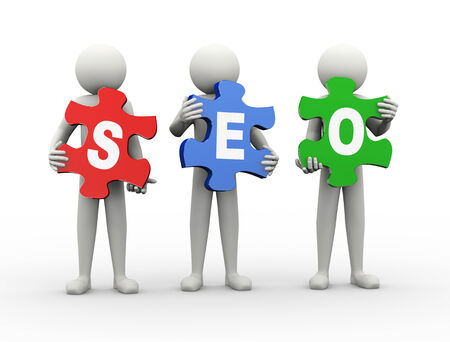 3d rendering of people holding puzzle pieces of seo - search engine optimization. 3d white people man character photo