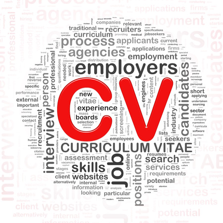 job hunting: Illustration of circular word tags wordcloud of CV curriculum vitae