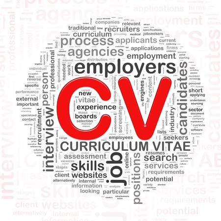 curriculum vitae: Illustration of circular word tags wordcloud of CV curriculum vitae