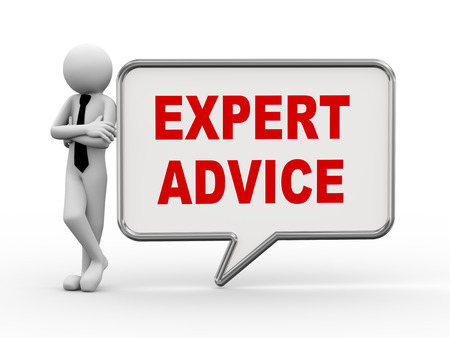 consultancy: 3d rendering of business person standing with expert advice bubble speech. 3d white people man character.