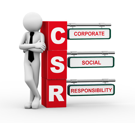 corporate responsibility: 3d rendering of business person standing with csr - corporate social responsibility. 3d white people man character. Stock Photo