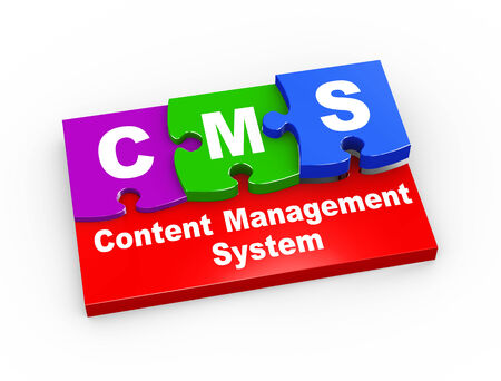3d rendering of puzzle pieces presentation of cms - content management system photo