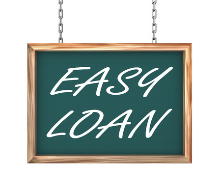 acquire: 3d rendering of hanging wooden signboard banner of concept of easy loan Stock Photo