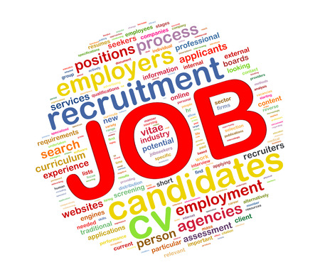 job hunting: Illustration of circular word tags wordcloud of job Stock Photo
