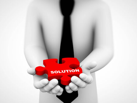 solves: 3d rendering of closeup of human hands holding solution red puzzle piece. concept of solution for problem. Stock Photo