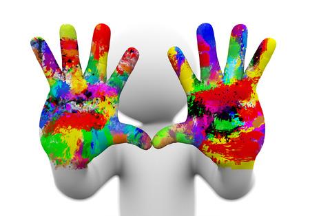 Het 3d teruggeven van close-up van twee geschilderde, kleurrijke menselijke handen die concept creativiteit, artistieke pret voorstellen,. 3D-witte mensen man karakter.