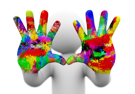 Las 3D de cerca de dos pintados y coloridos manos humanas que presentan el concepto de la creatividad, diversión, artístico. Carácter del hombre de la gente blanca 3d. Foto de archivo - 27939793