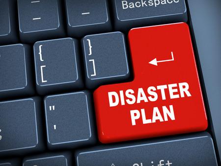evacuacion: Representación 3D de teclado de la computadora negro con el botón rojo del plan de desastre