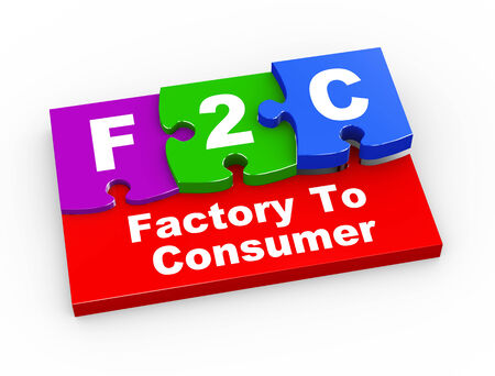 b2e: 3d rendering of puzzle pieces presentation of f2c - factory to consumer