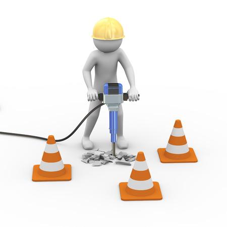 3D-rendering van het verkeer kegel en wegwerker man werken met kracht jackhammer. Witte mensen 3d man karakter. Stockfoto