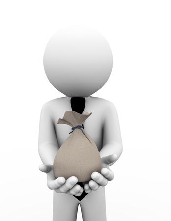 hands tied: 3d rendering of business person holding money bag on hands. 3d white people man character.