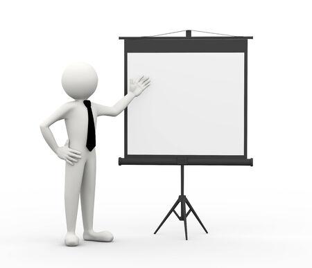 ビジネスマンの導入と三脚式のプロジェクター スクリーンで何かを提示の 3 d レンダリングします。3 d の白人男性キャラクター 写真素材