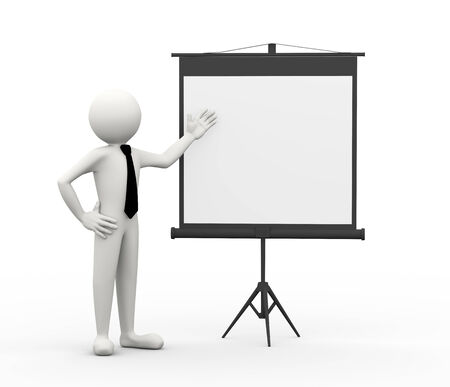 introducing: 3d rendering of businessman introducing and presenting something at the tripod projector screen. 3d white people man character Stock Photo