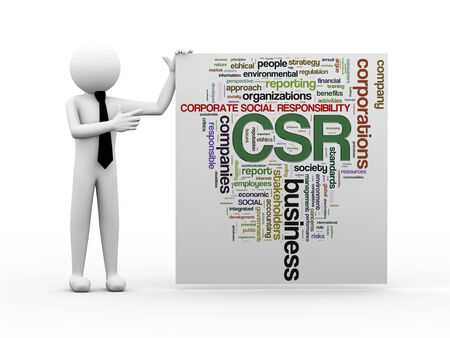 business roles: 3d render of business person with wordcloud word tags of csr - corporate social responsibility