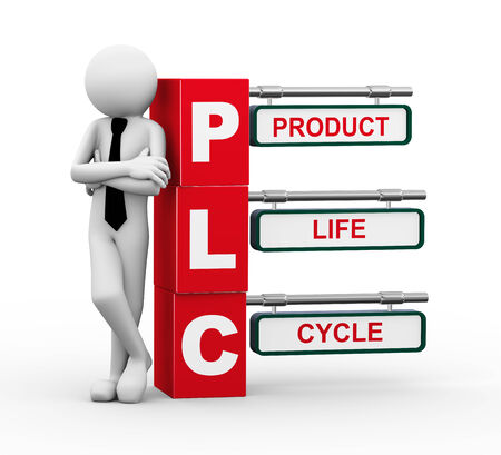 lifecycle: 3d rendering of business person standing with plc - product life cycle  3d white people man character Stock Photo