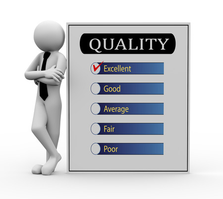 3d rendering of business person standing with quality survey report  3d white people man character  photo