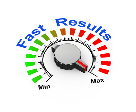 maximum: 3d illustration of knob set at maximum for fast results