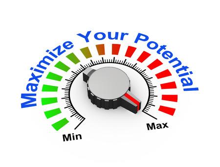 3d illustration of knob set at maximum for potential Stock Photo