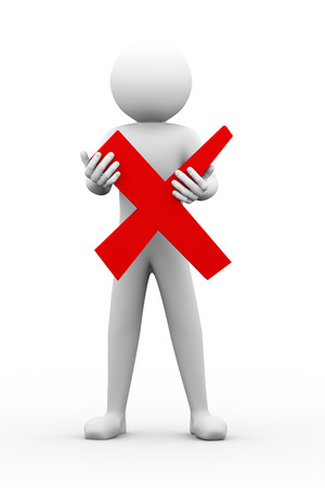 disallow: 3d rendering of person holding red cross mark - wrong symbol  3d white people man character