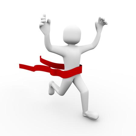 3d illustration of ruuning winner man crossed winning finish line.  3d people character rendering