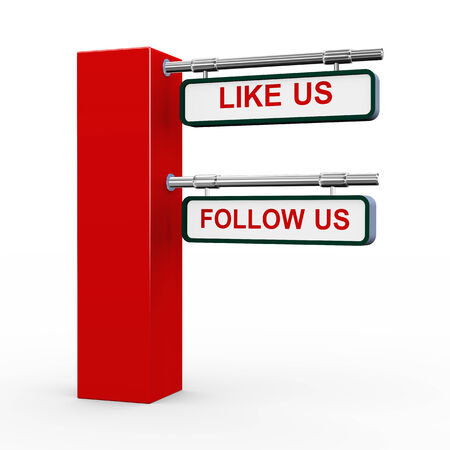 3d rendering of modern road sign post of follow us photo