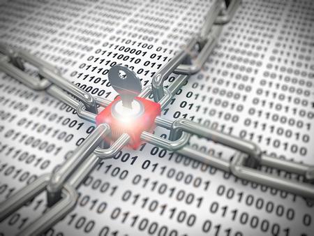 3D-rendering van slot, sleutel en ketting Overy binaire data sheet. Concept van de bescherming van gegevens en encryptie.