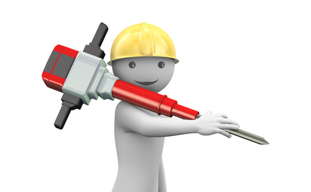 3d rendering of happy worker with helmet carrying jackhammer  3d white people man character  photo