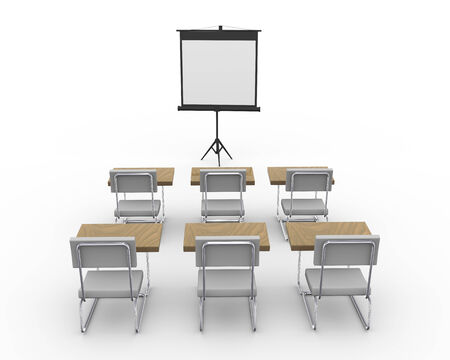 seating furniture: 3d rendering of tripod projector screen and chairs in an empty conference meeting room.