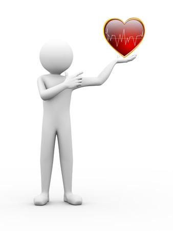 3d rendering of person holding and pointing to healthy heart with ecg graph.  3d white people man character. photo
