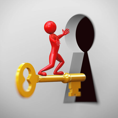 red man: 3d rendering of shiny red man on golden key passing through large keyhole. 3d people man character.
