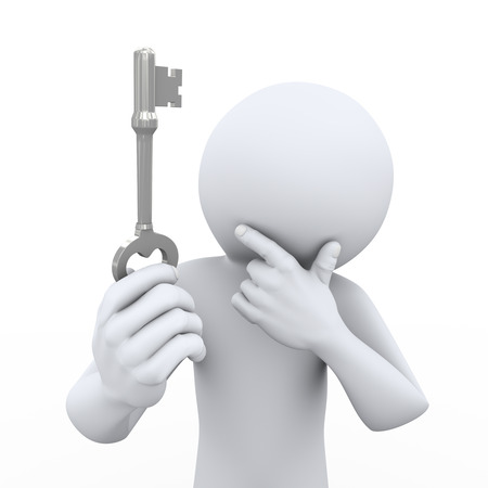 suspicious: 3d rendering of person holding and looking at key and thinking. 3d white people man character.