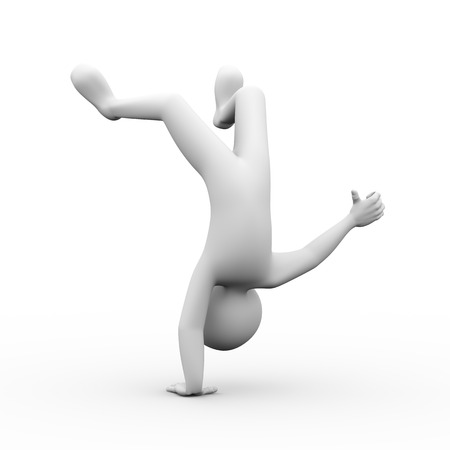 lucky man: 3d rendering of happy lucky man upside down showing thumb up. 3d white people man character Stock Photo